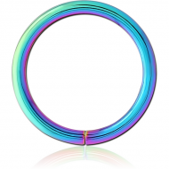 RAINBOW PVD COATED SURGICAL STEEL SEAMLESS RING PIERCING