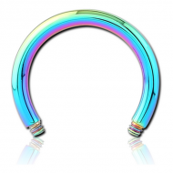 RAINBOW PVD COATED SURGICAL STEEL CIRCULAR BARBELL PIN PIERCING