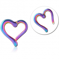 RAINBOW PVD COATED SURGICAL STEEL HINGED CLICKER - HEART PIERCING