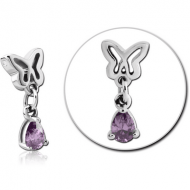 SURGICAL STEEL JEWELLED ATTACHMENT FOR BALL CLOSURE RING - BUTTEFLY WITH DANGLING DROP PIERCING
