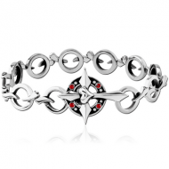 SURGICAL STEEL JEWELLED BRACELET - CROSS WITH HEART