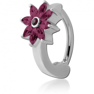 SURGICAL STEEL JEWELLED BELLY CLICKER - FLOWER