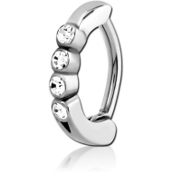 SURGICAL STEEL JEWELLED BELLY CLICKER PIERCING