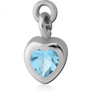 SURGICAL STEEL JEWELLED CHARM - HEART
