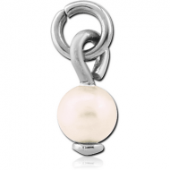 SURGICAL STEEL SYNTHETIC PEARL CHARM - BALL