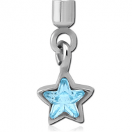 SURGICAL STEEL JEWELLED SCREW ON CHARM WITH MICRO THREADED CUP - STAR