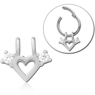 SURGICAL STEEL SLIDING JEWELLED CHARM FOR HINGED SEGMENT RING - HEART