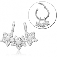 SURGICAL STEEL SLIDING JEWELLED CHARM FOR HINGED SEGMENT RING - TRIPLE FLOWER