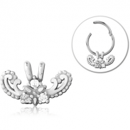 SURGICAL STEEL SLIDING JEWELLED CHARM FOR HINGED SEGMENT RING