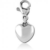 SURGICAL STEEL CHARM WITH LOBSTER LOCKER - HEART