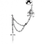 SURGICAL STEEL JEWELLED EAR CUFF CHAIN WITH CROSSBONES SKULL AND CROSS