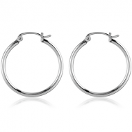 SURGICAL STEEL WIRE HOOP EARRINGS - ROUND