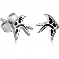 SURGICAL STEEL EAR STUDS PAIR - BIRD