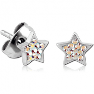 SURGICAL STEEL CRYSTALINE JEWELLED EAR STUDS PAIR - STAR
