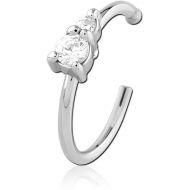 SURGICAL STEEL JEWELLED OPEN NOSE RING PIERCING
