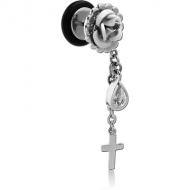 SURGICAL STEEL FLOWER FAKE PLUG WITH CROSS PIERCING