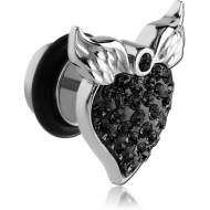 SURGICAL STEEL CRYSTALINE JEWELLED WINGED HEART FAKE PLUG PIERCING
