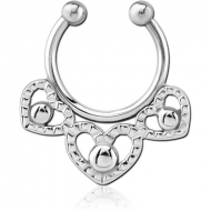 SURGICAL STEEL FAKE SEPTUM RING - THREE HEARTS PIERCING