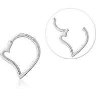 SURGICAL STEEL HINGED CLICKER - HEART PIERCING