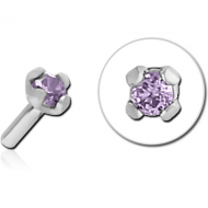 SURGICAL STEEL JEWELLED PUSH FIT ATTACHMENT FOR BIOFLEX INTERNAL LABRET - ROUND PIERCING