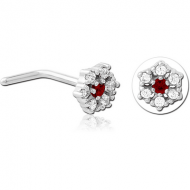 SURGICAL STEEL 90 DEGREE JEWELLED NOSE STUD - FLOWER PIERCING