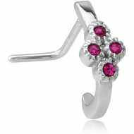 SURGICAL STEEL 90 DEGREE JEWELLED WRAP AROUND NOSE STUD PIERCING