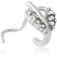 SURGICAL STEEL CURVED JEWELLED WRAP AROUND NOSE STUD - HEART PIERCING