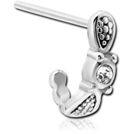 SURGICAL STEEL STRAIGHT JEWELLED WRAP AROUND NOSE STUD PIERCING