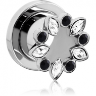 SURGICAL STEEL JEWELLED THREADED TUNNEL PIERCING