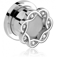 SURGICAL STEEL JEWELLED ROUND - EDGE THREADED TUNNEL PIERCING