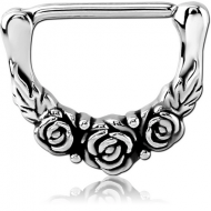 SURGICAL STEEL NIPPLE CLICKER - ROSE PIERCING