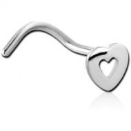 SURGICAL STEEL CURVED NOSE STUD - HEART PIERCING