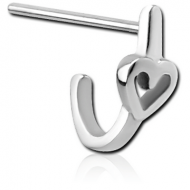 SURGICAL STEEL STRAIGHT WRAP AROUND NOSE STUD - HEART PIERCING