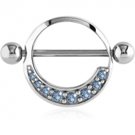 SURGICAL STEEL JEWELLED NIPPLE SHIELD - ROUND PIERCING