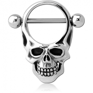 SURGICAL STEEL NIPPLE SHIELD - ROUND SKULL PIERCING