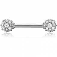 SURGICAL STEEL JEWELLED NIPPLE BAR PIERCING