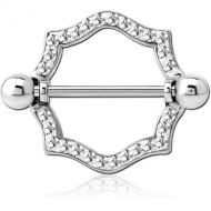 SURGICAL STEEL CRYSTALINE JEWELLED NIPPLE SHIELD PIERCING