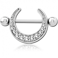 SURGICAL STEEL JEWELLED NIPPLE SHIELD PIERCING