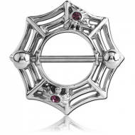 SURGICAL STEEL JEWELLED NIPPLE SHIELD - SPIDER WEB PIERCING