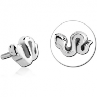 SURGICAL STEEL PUSH FIT ATTACHMENT FOR BIOFLEX INTERNAL LABRET - SNAKE PIERCING