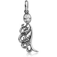 SURGICAL STEEL JEWELLED PENDANT - WING