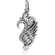 SURGICAL STEEL JEWELLED PENDANT - DRAGON WING