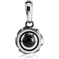 SURGICAL STEEL PENDANT WITH ONYX