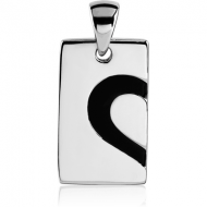 SURGICAL STEEL PENDANT - TAG WITH HALF HEART