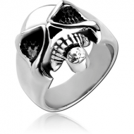SURGICAL STEEL JEWELLED RING - SKULL