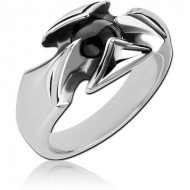 SURGICAL STEEL RING WITH ONYX