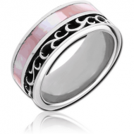 SURGICAL STEEL OXIDIZED RING WITH STONE