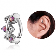 SURGICAL STEEL SYNTHETIC OPAL ROOK CLICKER - FILIGREE PIERCING