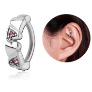 SURGICAL STEEL JEWELLED ROOK CLICKER - HEART PIERCING