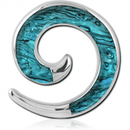 SURGICAL STEEL SYNTHETIC MOTHER OF PEARL EAR SPIRAL PIERCING
